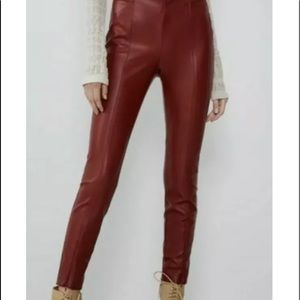 ZARA RED FAUX LEATHER LEGGINGS sz med